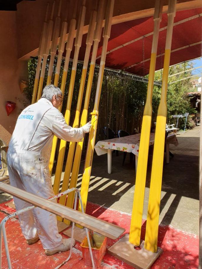 Christian peint les nouvelles rames